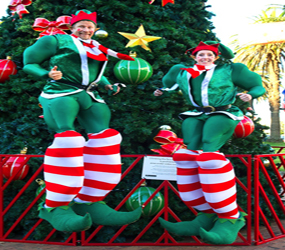 CHRISTMAS PARTIES - STILT ELVES SANTA HELPERS TO HIRE